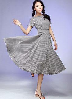 Midi cotton prom dress (536)