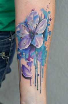 Blue and purple water color flower tattoo