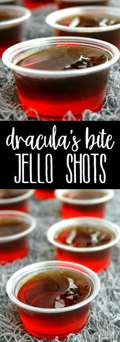 Dracula's Bite Jello Shots are a spiked cherry coke cocktail turned into Halloween party must make! via Dracula's Bite Jello Shots are a spiked cherry coke cocktail turned into Halloween party must make! Alcohol Jello Shots, Cherry Jello Shots, Best Jello Shots, Party Drinks Alcohol, Vegan Jello Shots, Halloween Cocktails, Halloween Jello Shots, Halloween Food For Party, Holiday Drinks