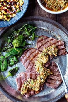Thin cut steaks flash fried and topped with chipotle pesto made with garlic, toasted pine nuts, chipotle chillies, Parmesan and parsley. Chipotle Pesto Recipe, Vegan Steak Recipe, Homemade Chipotle, Corn Relish, Easy Steak Recipes, Beef Sirloin, Grilled Pork Chops, Butter Recipe, Steaks