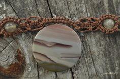 Succor Creek Jasper  Necklace - Lacy Hemp Macrame Necklace - Hand Knotted Necklace - Fiber Necklace - Natural - Bohemian - Woodland - Brown