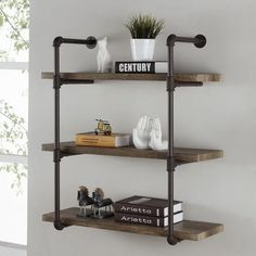Shop b three tier faux wood industrial pipe wall shelf on shelves for walls mounted shelving units Regal Industrial, Industrial Pipe Shelves, Industrial Interior Design, Industrial House, Industrial Furniture, Urban Industrial, Industrial Farmhouse, Industrial Style, Wood And Pipe Shelves