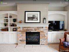 Image result for fireplace built in shelves with the tv on the right side