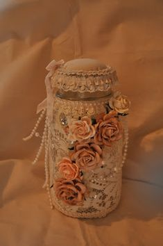 Beautiful altered jar with vintage lace and Wild Orchid Crafts embellishments and Mulberry Flowers