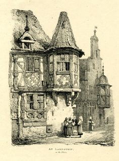 Lahnstein - View of the left side of a cobbled street, with four women standing in front of a timber-frame building, a woman walking with a basket on her arm towards a house with stepped gable and pentagonal turret window with bell-shaped roof; two figures seen in the distance at right.  1822    Lithograph
