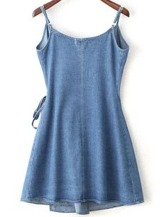 Shop Wrap Cami Dress With Tie Detail online. SheIn offers Wrap Cami Dress With Tie Detail & more to fit your fashionable needs. Blue Fashion, Fashion Outfits, Trendy Fashion, Pretty Outfits, Cute Outfits, Summer Outfits, Cute Dresses, Casual Dresses, Diy Vetement