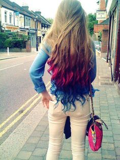 Blonde Hair with Hot Pink & Electric Blue Dip Dyed Tips