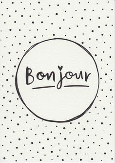 Original Painting Typographic Print French Quote Print Minimalist Print Bonjour Typography Gift For Her Black and White by FeatherAndSixpence on Etsy