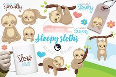 Sleepy sloth illustration and graphics By Prettygrafik Design
