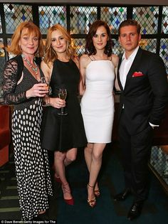 Cheers! The actors - joined by Samantha Bond - raised a glass to their success on the ITV ...