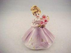 "Vtg Josef Originals Birthday Month July Ruby Doll Figurine 4-13/16""Made in Japan"