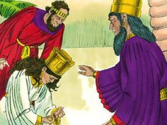 Esther fell at the King's feet weeping and begging him to put a stop to the evil plan to kill the Jews. 'If it pleases the King, let an order be written overruling Haman's plan.' – Slide 7
