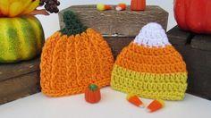 Halloween Preemie Hat Set, Crochet Candy Corn Hat, Pumpkin Hat,  Micro Preemie…