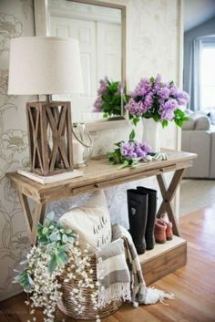 An entryway styled with Tempaper Peonies. Temporary Wallpaper Entryway Decor Ideas – Stick on wallpaper for renters - Home Decor - Style & Trends - Home Decor - Style & Trends Farmhouse Decor, Decor, Rustic Farmhouse Entryway, Entry Table Decor, Farmhouse Console Table, Table Decorations, Wallpapered Entryway, Entryway Decor Small, Entryway Style