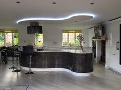 Lima Kitchen Ripple White Gloss and Black & White Zebrano open plan kitchen