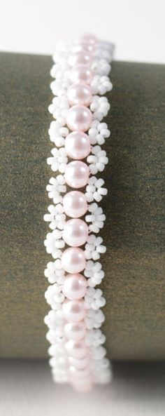 Delicate Baby Pink Glass Pearl Bracelet