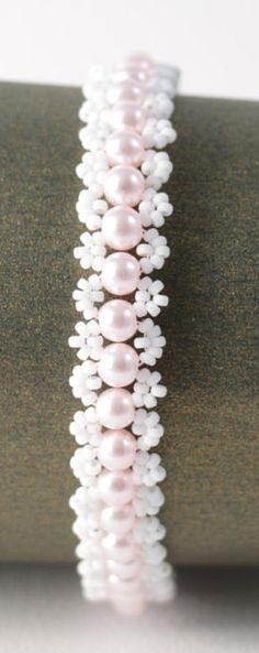 Delicate Baby Pink Glass Pearl Bracelet Dainty Bracelets, Handmade Bracelets, Jewelry Bracelets, Swarovski Bracelet, Pearl Bracelet, Bridesmaid Bracelet, Bridal Bracelet, Bracelet Making, Jewelry Making