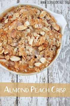A dessert made with baked peaches and a crispy streusel-like almond-oatmeal topping, browned to perfection