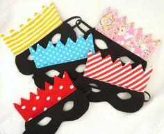 """Set de cinq masques couronnes pour la meilleure fête  d' anniversaire !!! par """"dents de loup"""" #party #five #mask"""