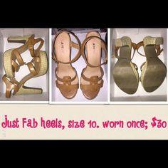 CLEARANCE Just Fab platform sandle heels Neutral colored open toe platform sandle heels JustFab Shoes Heels