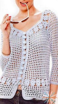 Crochet Jacket, Crochet Blouse, Crochet Motif Patterns, Knitting Patterns, Crochet Baby, Knit Crochet, Dress With Shawl, Summer Cardigan, Short Tops