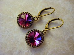Valentine's Sale 20% off Pink Crystal and Brass by BeadBashStudio