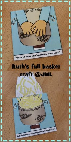 Simple pull tab craft for story of Ruth as found in Ruth the basket of… Toddler Bible Lessons, Bible Activities For Kids, Bible Crafts For Kids, Sunday School Activities, Preschool Bible, Sunday School Lessons, Sunday School Crafts, Kids Bible, Ruth Bible