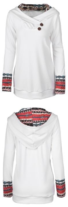 $23.99 Only with free shipping&easy return! This ethnic printing sweatshirt is detailed with hoodie design&button at collar! It will be your pal through thick and thin.