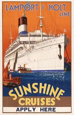 Vintage Shipping Poster from Onslows - Lamport and Holt Sunshine Cruises Poster.