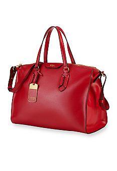 d2f6dc3f833 Lauren Ralph Lauren Tate Convertible Leather Satchel Ralph Lauren Bags, Ralph  Lauren Handbags, Red