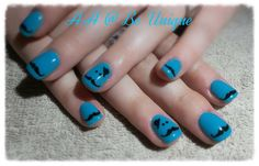 Nails done by Angelique Allegria. #blue #mustache #nailart #BeUnique @angiedsa
