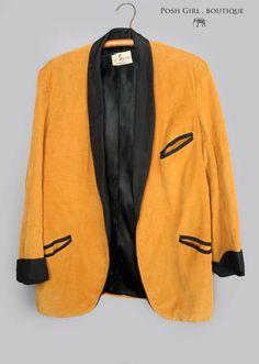 1960's Gold Corduroy Rat Pack Style Suit Blazer Jacket