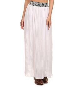 This L & B White & Black Filigree Pleated Maxi Skirt - Women & Plus by L & B is perfect! #zulilyfinds