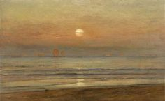 """Coastal View at Twilight, Venice in the Distance,"" Samuel Colman, oil on canvas, 15 x 24"", private collection."