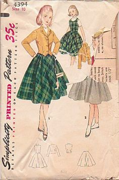 Vintage 1950s Girls Simplicity Sewing Pattern 4394 Girls Jumper Weskit Jacket and Full Skirt Bust 28