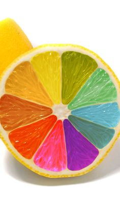 This picture shows the element of color. It shows color because the fruit is like a color wheel Rainbow Food, Taste The Rainbow, Over The Rainbow, Rainbow Stuff, Rainbow Things, Colored Lemons, Color Wheel Projects, Deco Fruit, Rainbow Connection