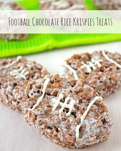 Chocolate Rice Krispies Treats Football Chocolate Rice Krispies Treats – combine your love for chocolate, Rice Krispies, and football with these easy and delicious marshmallow, Cocoa Krispies treats; football and Rice Krispies Treats fans unite! New Year's Desserts, Single Serve Desserts, Winter Desserts, Desserts For A Crowd, Cute Desserts, Delicious Desserts, Party Desserts, Chocolate Rice Krispies, Cocoa Krispies
