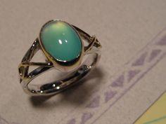 BEAUTIFUL Blue Peruvian Opal Ring  Sterling by DragonsBreath, $385.00