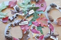 fall activities for preschoolers, nature walk to make little wreaths, and apple cutouts