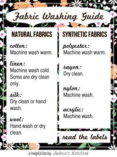 Fabric washing guide. Helpful!