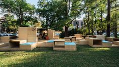 Multifunctional instalation in front of Museum of Architecure in Wroclaw, as a 7th edition of cyclical Archibox event