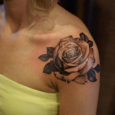 Chronic Ink Tattoo - Toronto Tattoo Black and grey rose tattoo on the shoulder, done by Marilyn.