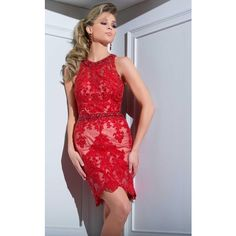 Tony Bowls TS21685 Homecoming Dress Knee Length High Neckline... ($549) ❤ liked on Polyvore featuring dresses, cocktail dresses, red, red dress, red lace cocktail dress, holiday cocktail dresses, red homecoming dresses and sleeveless cocktail dress