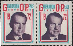 2 Nixon Campaign 1972 Stamps Generation of Peace by DLSpecialties, $3.80