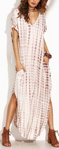 Coffee Tie Dye Print Split Curved Hem Maxi Dress