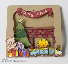 Lawn Fawn Christmas - window & pop up card