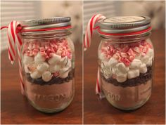 Easy Hot Cocoa Mix In A Jar so simple and adorable I must say! Diy Xmas Gifts, Christmas Food Gifts, Christmas Jars, Homemade Christmas Gifts, Christmas Ideas, Christmas Baskets, Christmas 2015, Holiday Treats, Holiday Gifts