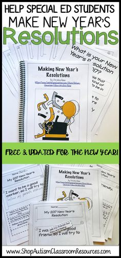 This free set of templates are a great print-and-go plan for after the holiday.  You can use them to help students in special education create their own new year's resolutions or use them to adapt activities in the regular education classroom so that all students can access it.  I created different levels so they are already differentiated. Check them out and download them free!!