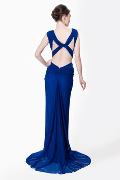 Mesh V-Neck Cross Back Gown in Marina - Evening Gowns - Evening Shop | Tadashi Shoji