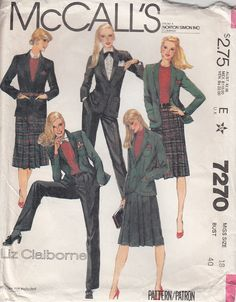 Vintage McCalls 7270 Liz Claiborne Suit Classic by CedarSewing Vintage Dress Patterns, Vintage Skirt, Clothing Patterns, Vintage Dresses, Retro Fashion, Vintage Fashion, Floral Duster, Suit Pattern, Triangle Print